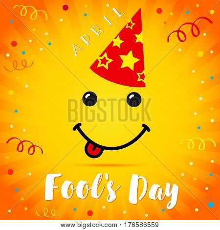 April Fools Day smile festive cap card. 1 April Fool's Day text and vector illustration of a smiling face on red festive cap