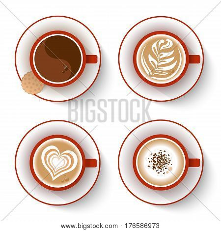 Set of coffee cups isolated on white. Top view red coffee cup. Espresso and cappuccino coffee coffee with whipped cream and chocolate. Vector illustration