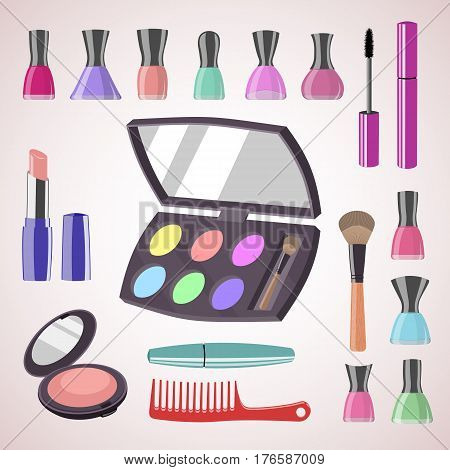 Sets of cosmetics on isolated background. Tools for professional make-up: mascara cosmetic brush lipstick nail polish comb eyeshadow and face powder. Vector illustration.