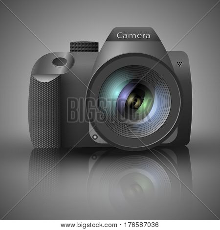 Realistic SLR digital camera with lens on grey background. With the mirror reflection and shadow. Vector illustration