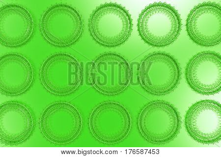 Pattern Of Concentric Shapes Made Of Rings And Spirals On Green Background
