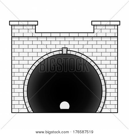 Vector railway low poly tunnel in front view in outline stylization. Old stone circular tunnel with light at the end. Isolated on white background. Diminishing perspective.
