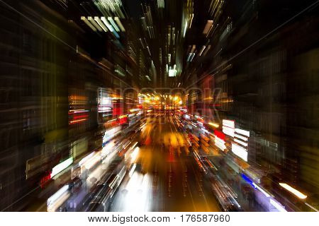 Abstract blurred night lights of Chinatown street scene in New York City