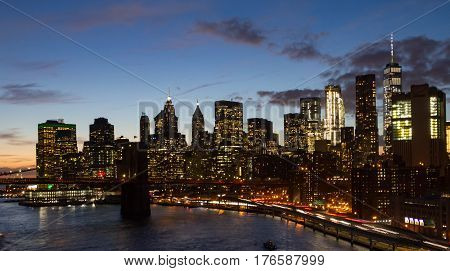 Night lights of the New York City skyline at dusk in Manhattan NYC