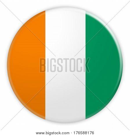 Ivory Coast Flag Button News Concept Badge 3d illustration on white background