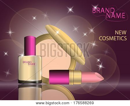 Glamorous lipstick nail laquer compact foundation on the sparkling effects background. Mockup 3D Realistic Vector illustration for design template