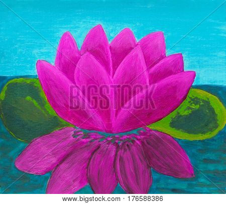 One Pink colour waterlily illustration oil painting