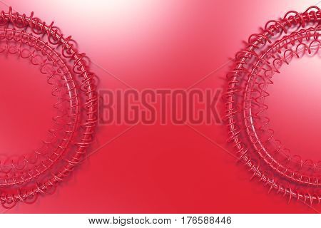 Concentric Shape Made Of Rings And Spirals On Red Background