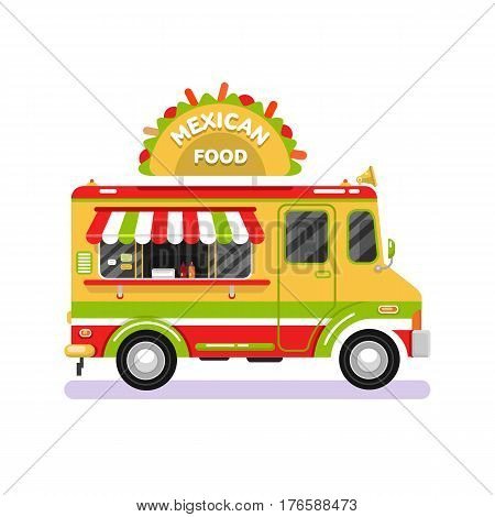 Flat design vector illustration of traditional Mexican food car. Mobile retro vintage shop truck icon with signboard with big tasty tacos. Van side view isolated on white background.