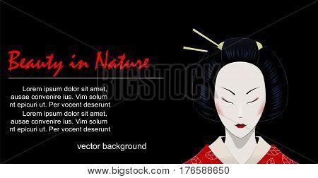 Illustration of cartoon geisha with closed eyes on black background. Easy to edit