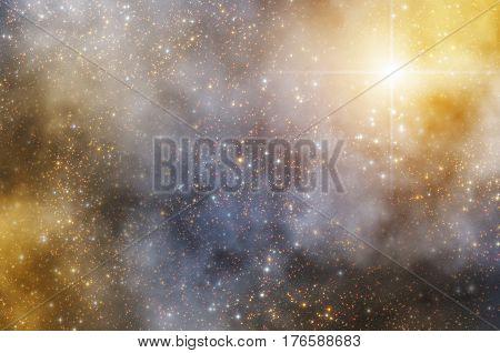 Milky way stars on a dark cosmos sky. 2D render / illustration