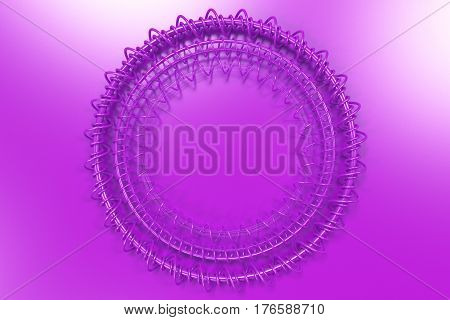 Concentric Shape Made Of Rings And Spirals On Violet Background