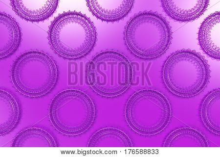 Pattern Of Concentric Shapes Made Of Rings And Spirals On Violet Background