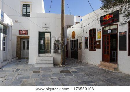 CHORA< GREECE - JANUARY13, 2017: View of Chora village on Ios island, Greece on January 13, 2017.