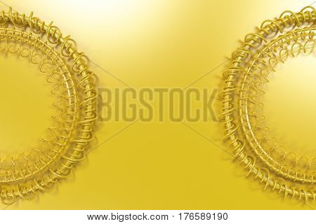 Concentric Shape Made Of Rings And Spirals On Yellow Background