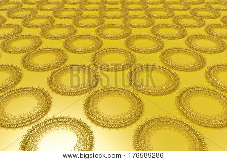 Pattern Of Concentric Shapes Made Of Rings And Spirals On Yellow Background
