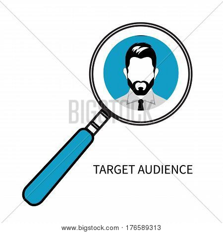 Icon of target audience. Man portrait under magnifying glass. Vector illustration.