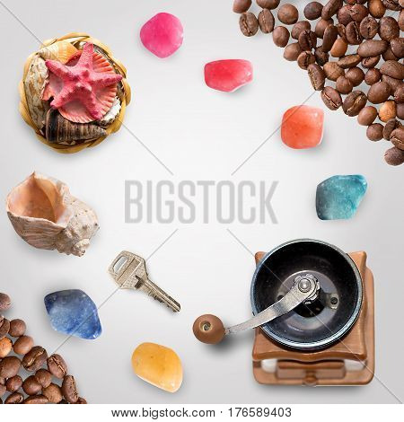 Flat lay styled scene - shells, stones, coffee grains isolated on white with clipping path. Scene for instagram or illustration of business and work. The key to the success of something. Top view.