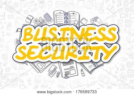Cartoon Illustration of Business Security, Surrounded by Stationery. Business Concept for Web Banners, Printed Materials.