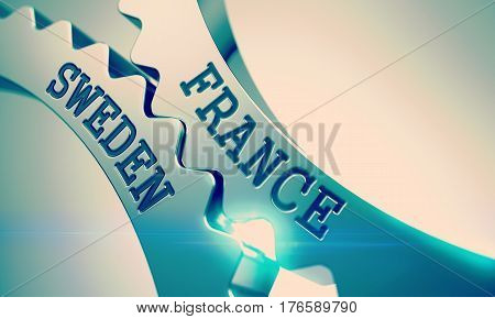 France Sweden on Mechanism of Metal Cogwheels. Communication Concept in Industrial Design. Concept. with Lens Effect. 3D Illustration.