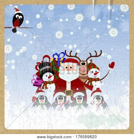 Greeting Christmas card with Santa Claus reindeer snowman penguins and bullfinch on retro background