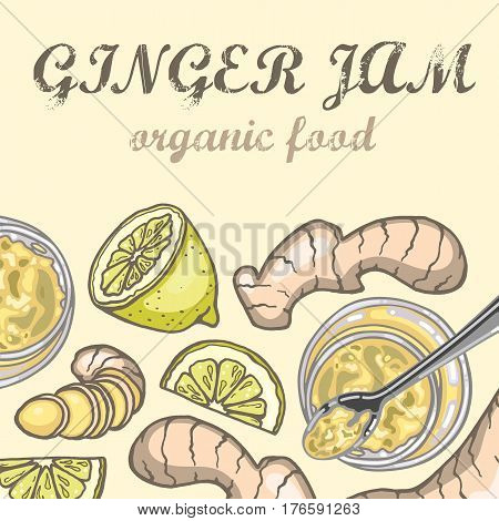 Ginger jam in jar lemon and ginger vector illustration