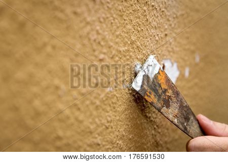 Renovation, Repair And Filling A Hole With Filler And Spatula