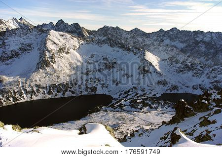 The great mountain peaks covered with snow. Tatry.