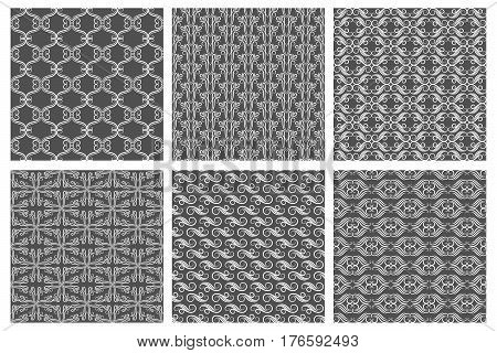 Swirly wallpaper textures. Vector flourish patterns, carpet backgrounds. Flourish swirly line pattern illustration