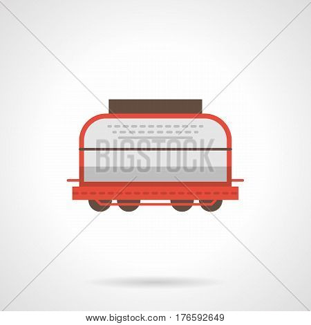 Covered universal rail box car. Railroad freight transportation, cargo train element. Flat color style vector icon.