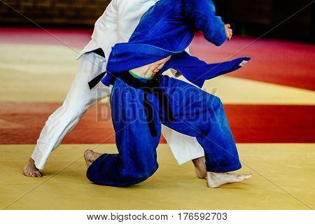 two men wrestlers judoka white and blue kimono on tatami fight