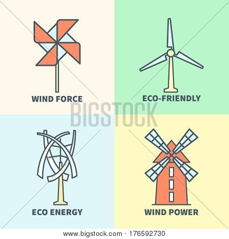 Windmill linear logo set. Eco friendly wind force sustainable energy signs. Wing mill tower, energy technology illustration