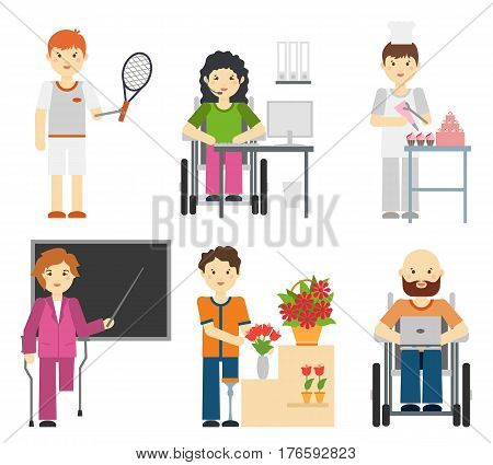 Disability young workers isolated on white background. Handicapped people at work, disabled occupations in wheelchair. Confectioner and teacher, gardener and programmer. Vector illustration
