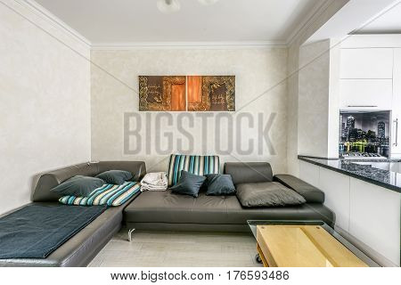 Stock photo white apartment interior design of living room and kitchen with bar, modern style, chisinau, moldova