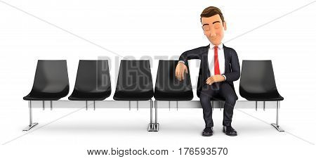 3d businessman sleeping in waiting room illustration with isolated white background