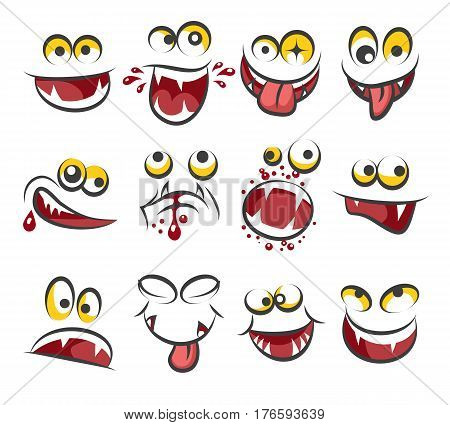 Cartoon faces emotions isolated on white background. Sketch cute face expression vector illustration. Caricature character face emotion