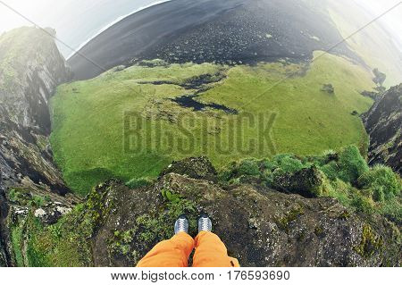 Rreykjavik, Iceland - August 29, 2016: Tourists taking photos of Dyrholaey Cliff Iceland