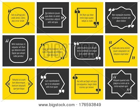 Dialogue box definition information frames with quote marks. Set of textbox message illustration