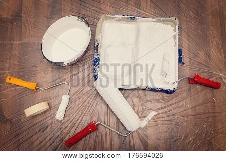 Flat Lay, Painter Material For Painting A White Wall