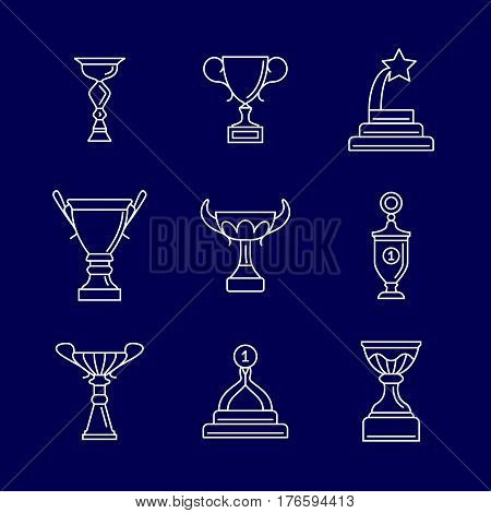 Trophy cup thin line icons. Linear podium award winning vector signs. Champion cup, reward and achievement illustration