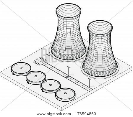Vector isometric cooling system of nuclear power plant, isolated on white background. Cooling tower of power station. Concrete thermal power plant tower in outline stylization. Industrial architecture
