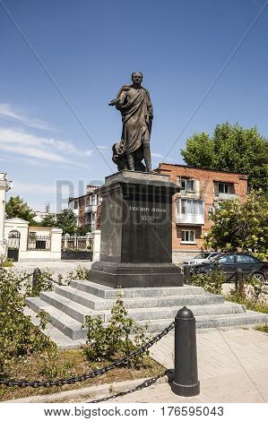 Monument to the Emperor Alexander the First at the Alexander Square in the city of Taganrog, Rostov Region