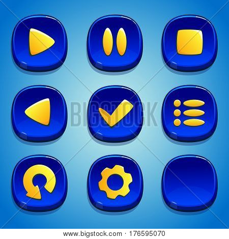 Dark blue buttons set. GUI and UI elements.