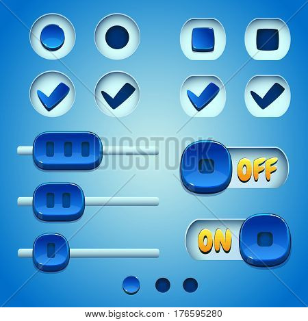 Blue buttons set. GUI and UI elements.