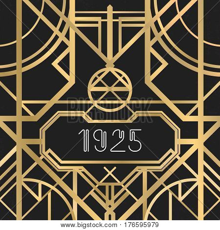 Golden abstract geometric background. Art deco style, vintage design element. Pastel Gold symmetric grill on a black messy backdrop. Decorative artdeco template with geometric lines