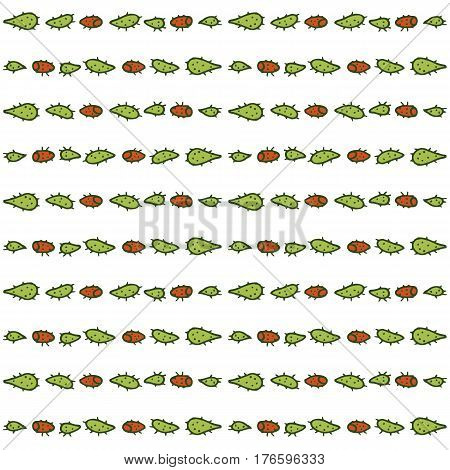 Hand drawn seamless pattern with prickly pear cactus. Endless ornament with colorful plants on white backdrop. Handdrawn stylish background for fabric, wrapping, packaging paper, wallpaper