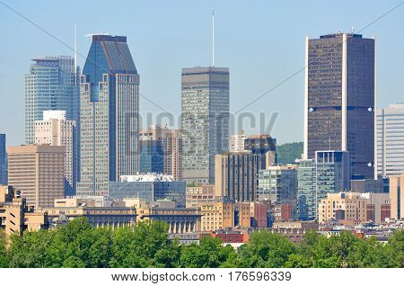 Montreal city skyline, viewed from Ile Notre-Dame, Montreal, Quebec, Canada.