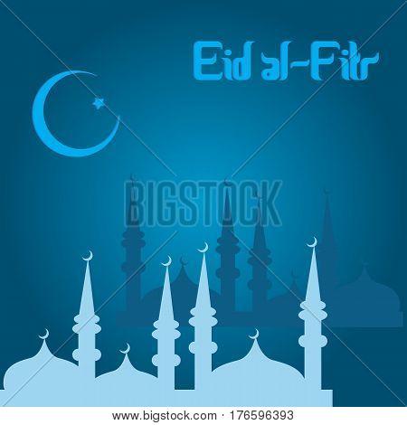 Muslim festival Eid Al Fitr Eid Mubarak . Vector illustration