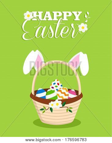 Happy Easter Rabbit In Egg Basket Holiday Card