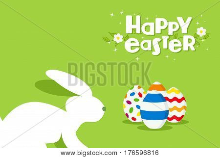 Happy Easter Rabbit And Egg Design Greeting Card